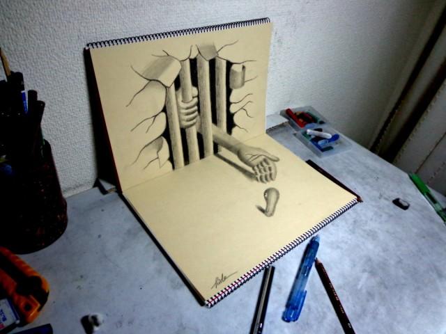 3 d pencil art into the mind of gunnar